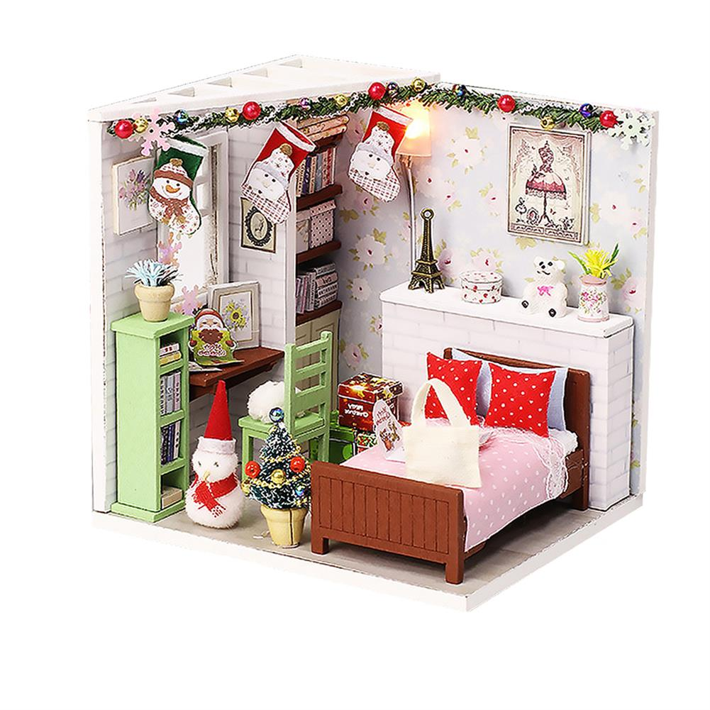 doll-house-miniature Wooden Bedroom DIY Handmade Assemble Doll House Miniature Furniture Kit Education Toy with LED Light for Collection Birthday Gift HOB1737856