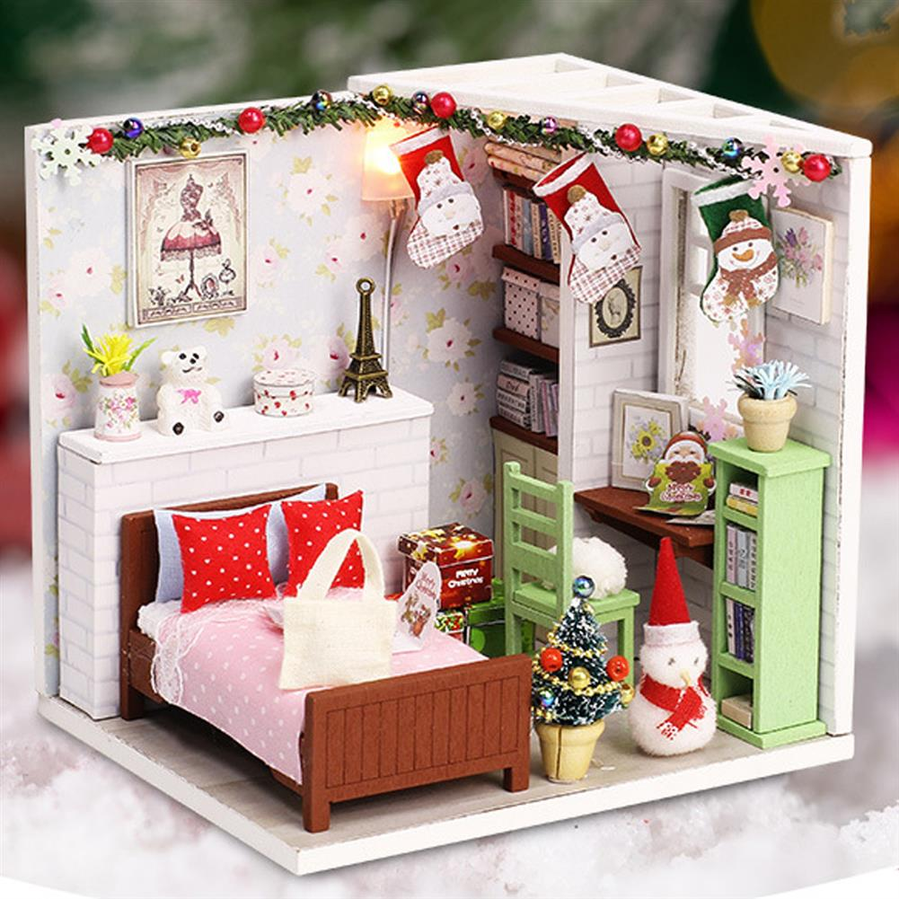 doll-house-miniature Wooden Bedroom DIY Handmade Assemble Doll House Miniature Furniture Kit Education Toy with LED Light for Collection Birthday Gift HOB1737856 1