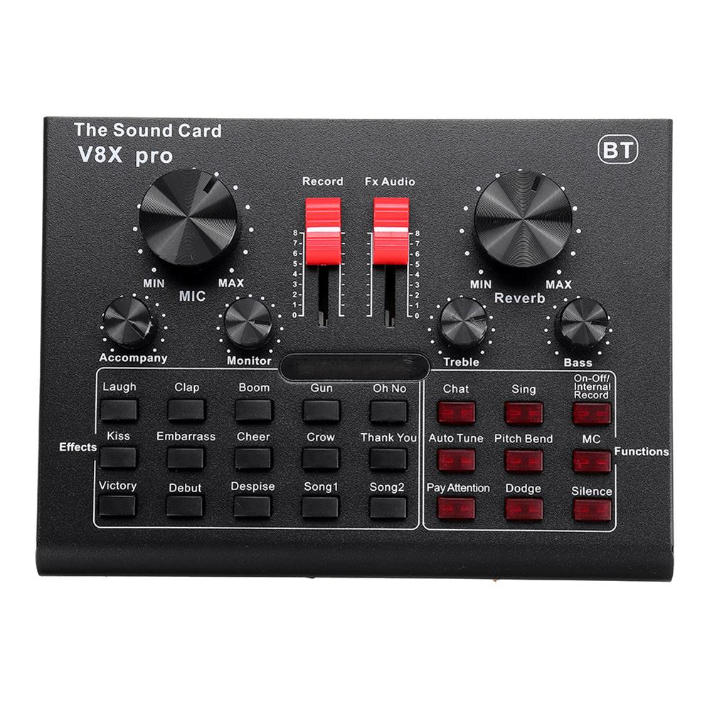 dj-mixers-equipment V8X PRO External Audio Mixer USB interface Sound Card with 15 Sound Modes Multiple Sound Effects HOB1738103