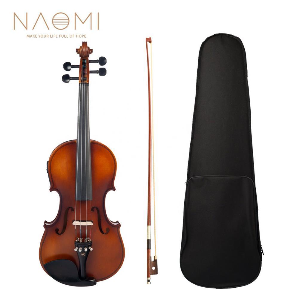violin NAOMI 4/4 Acoustic EQ Electric Matte Violin Fiddle Kit with Bow+Case+Bridge HOB1738899