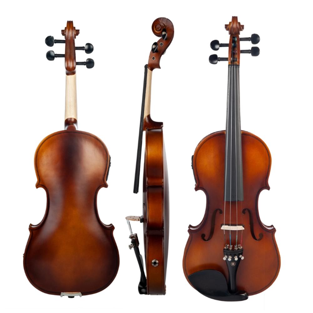 violin NAOMI 4/4 Acoustic EQ Electric Matte Violin Fiddle Kit with Bow+Case+Bridge HOB1738899 1