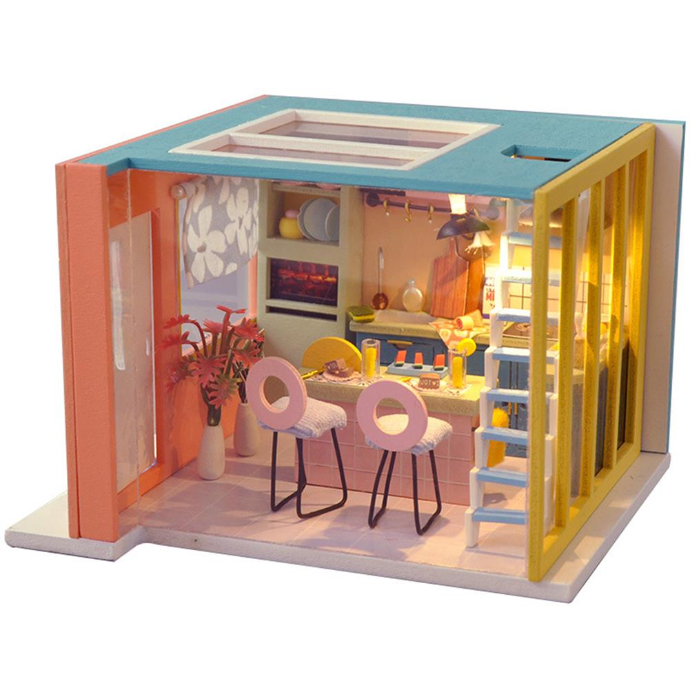 doll-house-miniature Wooden Kitchen DIY Handmade Assemble Doll House Miniature Furniture Kit Education Toy with LED Light for Kids Gift Collection HOB1740017