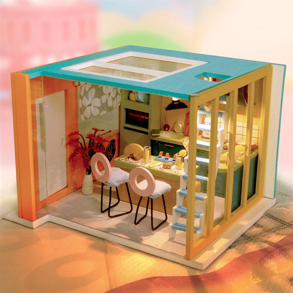 doll-house-miniature Wooden Kitchen DIY Handmade Assemble Doll House Miniature Furniture Kit Education Toy with LED Light for Kids Gift Collection HOB1740017 1