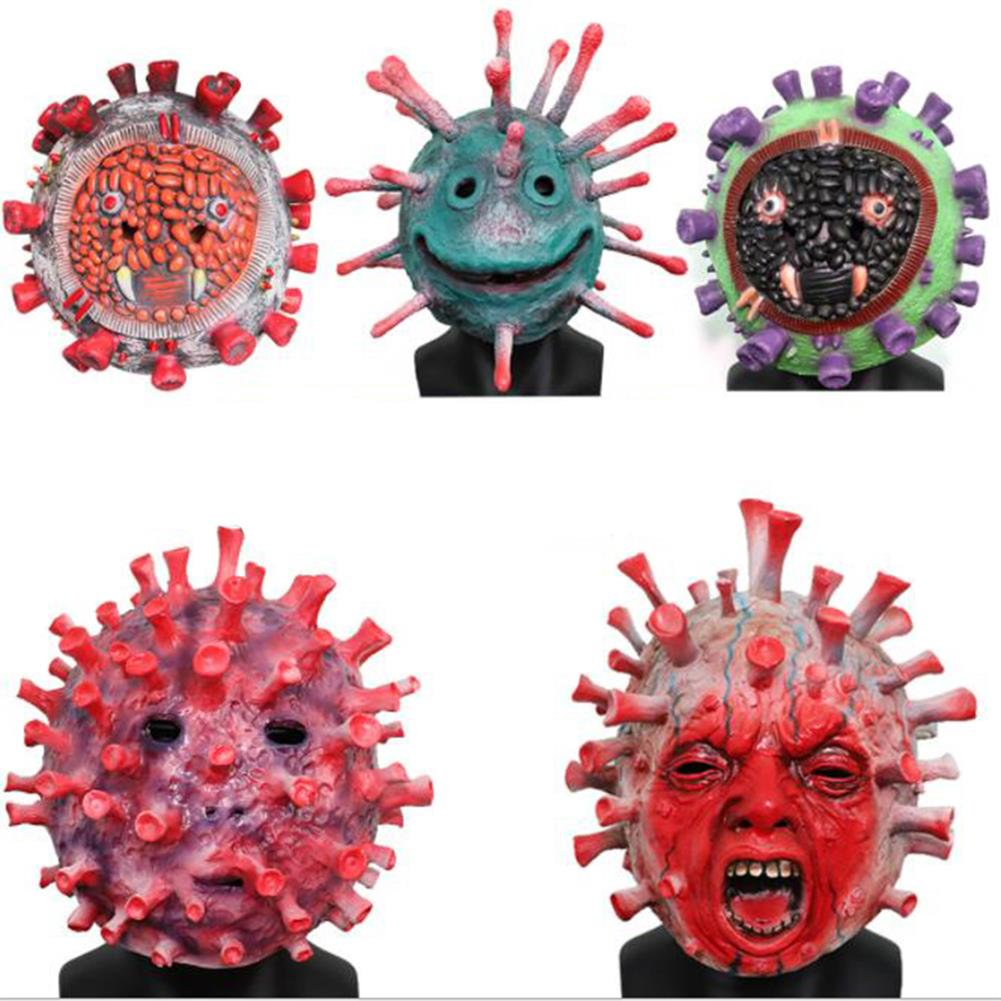 mask-costumes 6 Kinds of 2019 Germs theme Anti-epidemic Popular Science Props Latex Mask for Halloween Toys HOB1745962