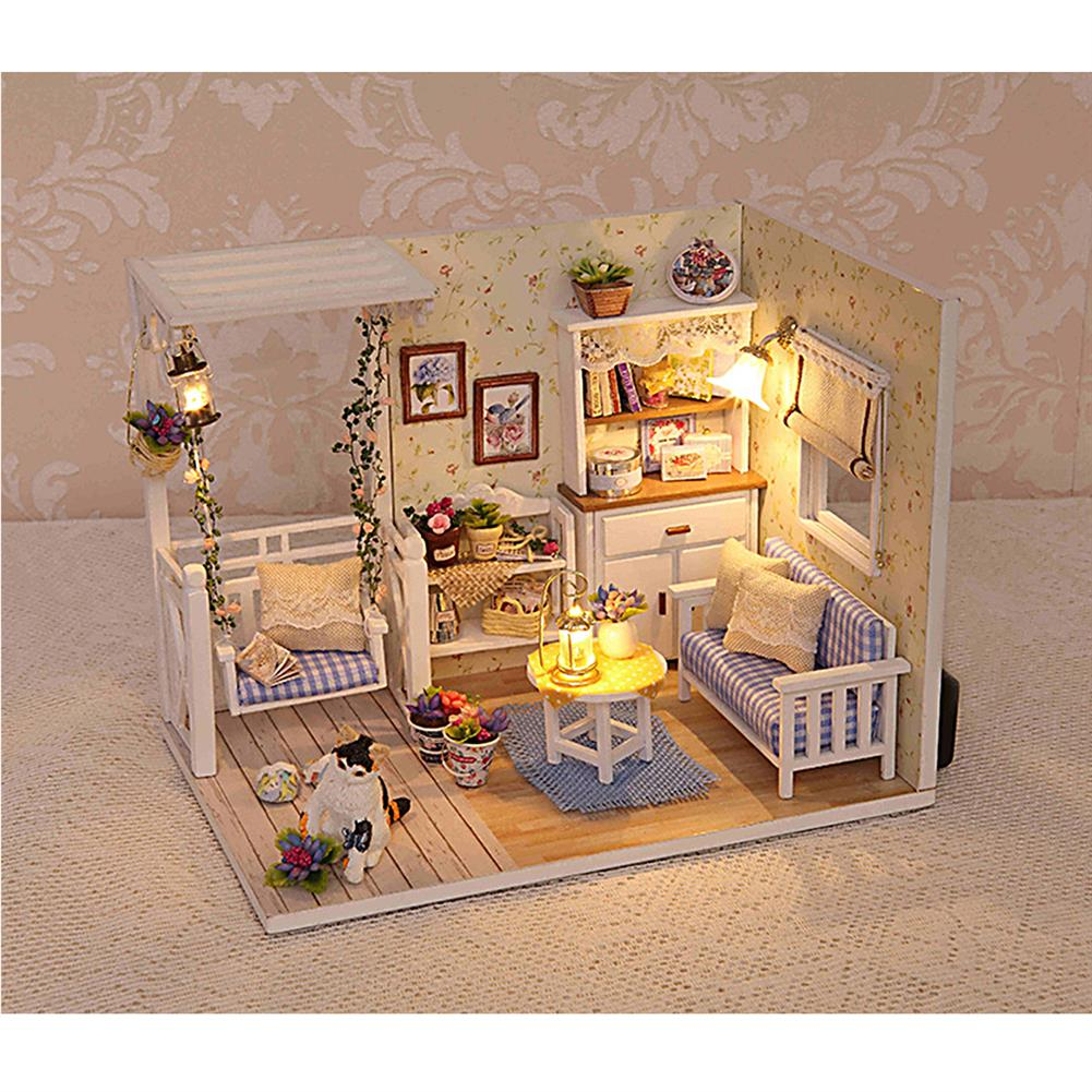 doll-house-miniature 1:24 Wooden DIY Handmade Assemble Doll House Miniature Furniture Kit Education Toy with Dust Proof Cover LED Light for Collection Birthday Gift HOB1751557