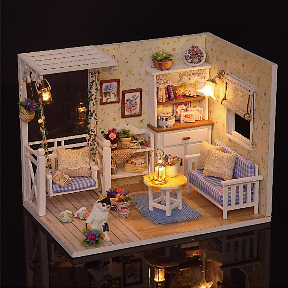 doll-house-miniature 1:24 Wooden DIY Handmade Assemble Doll House Miniature Furniture Kit Education Toy with Dust Proof Cover LED Light for Collection Birthday Gift HOB1751557 1