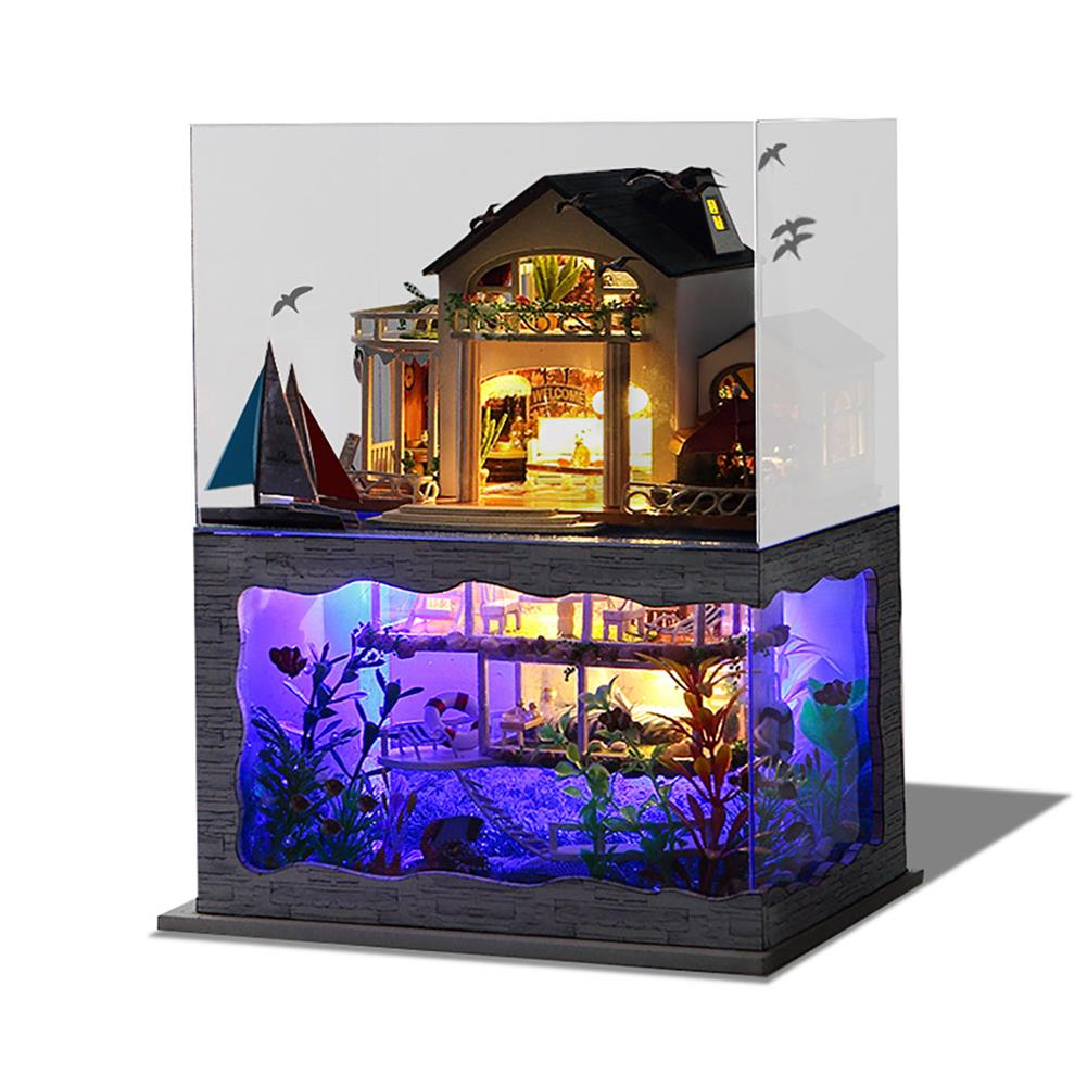 doll-house-miniature Wooden DIY Handmade Assemble Double Layer Beautiful View Doll House Miniature Furniture Kit Education Toy for for Collection Birthday Gift HOB1751562