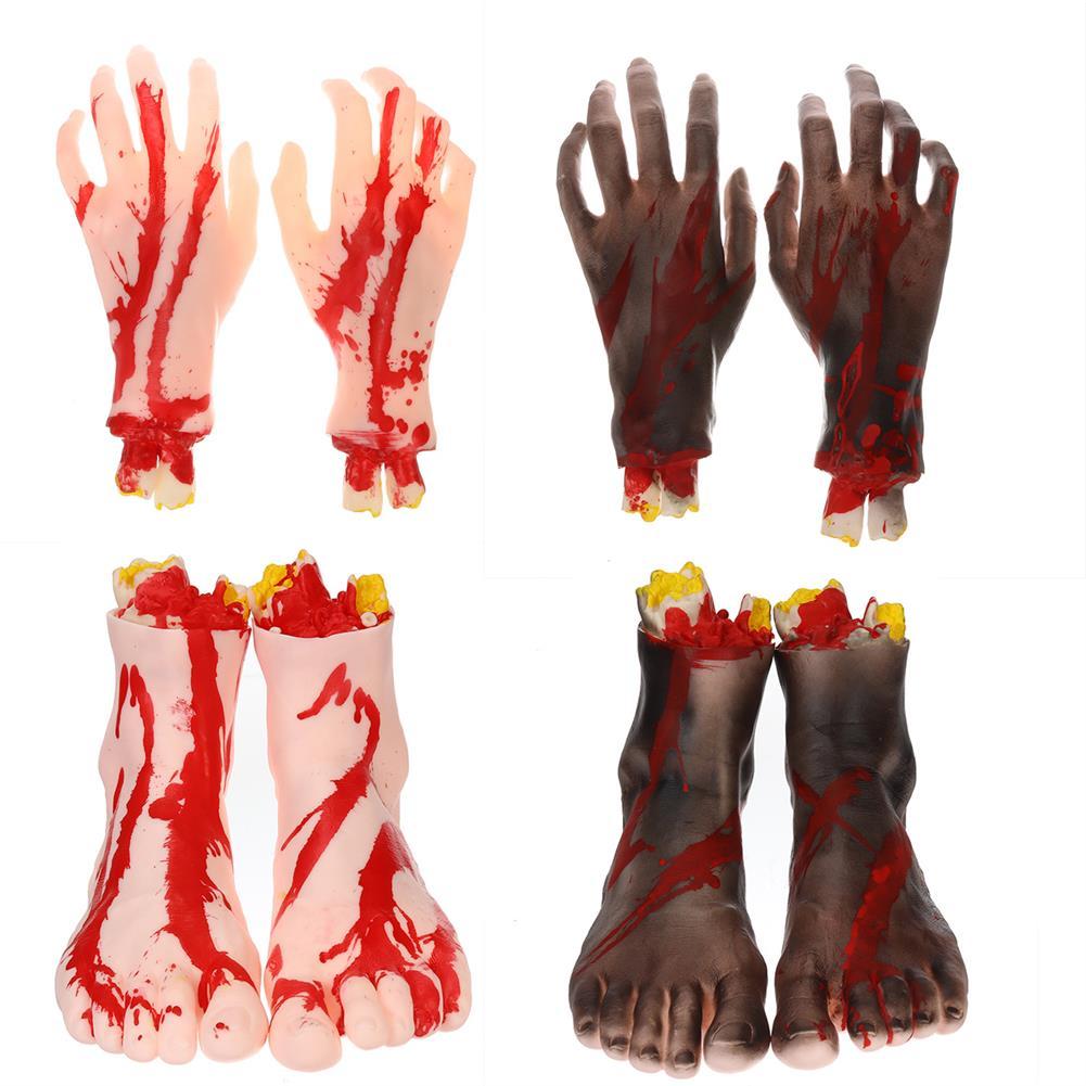 decoration 1 Pair of Hands/Feet Vinyl Halloween Horror Broken Hands Realistic Scene Decoration Props Tricky Toy HOB1751567