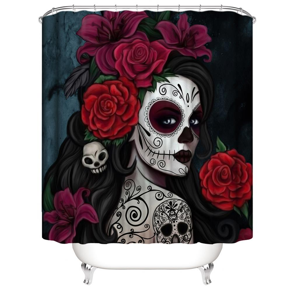 decoration 3D Printed Waterproof Polyester Shower Bath Curtain Set of Halloween Woman for Holidays & Party Gadgets HOB1754675 1