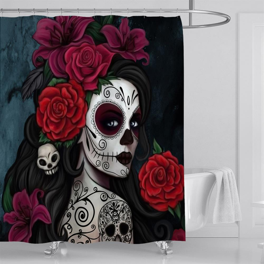 decoration 3D Printed Waterproof Polyester Shower Bath Curtain Set of Halloween Woman for Holidays & Party Gadgets HOB1754675 2