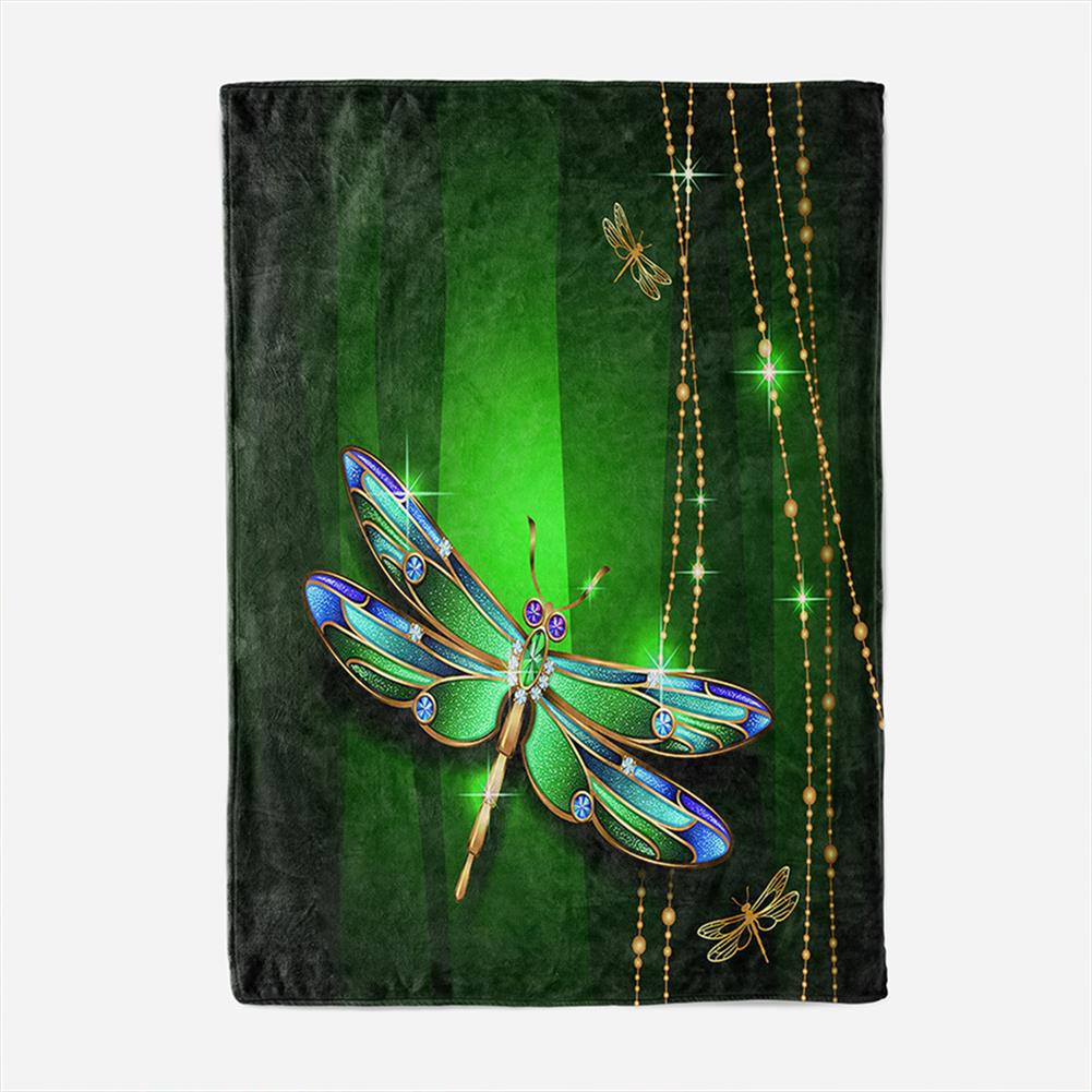 decoration Polyester Thick Blanket 3D Green Dragonfly Pattern for Halloween Christmas Decoration HOB1754682