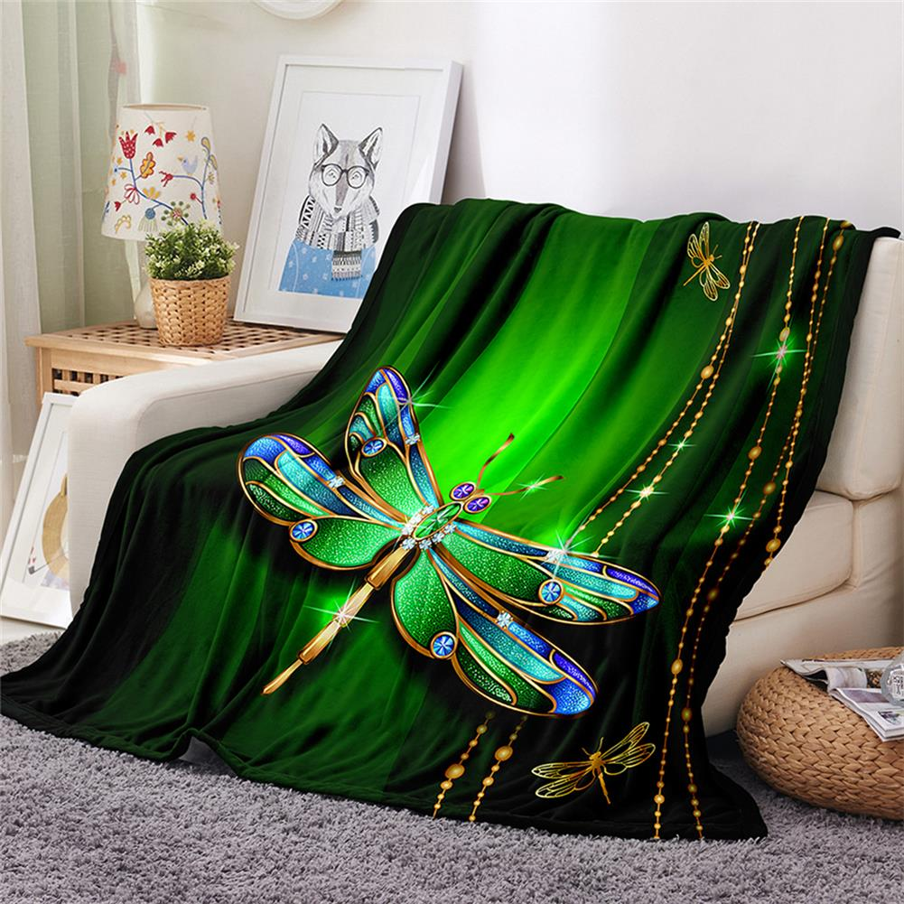decoration Polyester Thick Blanket 3D Green Dragonfly Pattern for Halloween Christmas Decoration HOB1754682 1