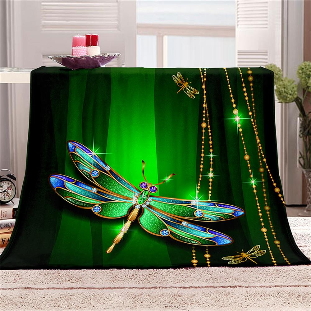 decoration Polyester Thick Blanket 3D Green Dragonfly Pattern for Halloween Christmas Decoration HOB1754682 2