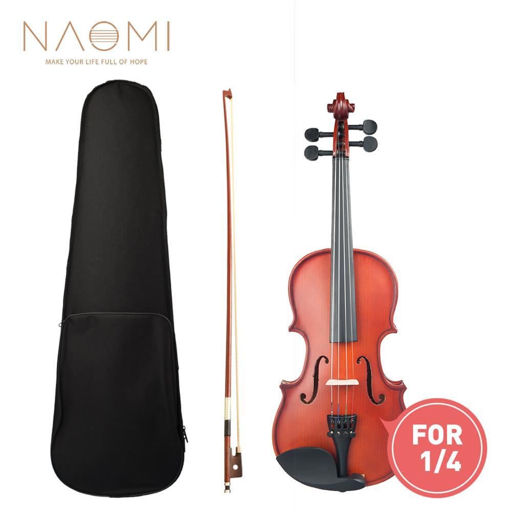 violin Naomi 1/4 Violin Matte/Bright Violin Student Violin W/Case+Bow Set for Biginner Violin Learner Natural Color Violin HOB1761383 1