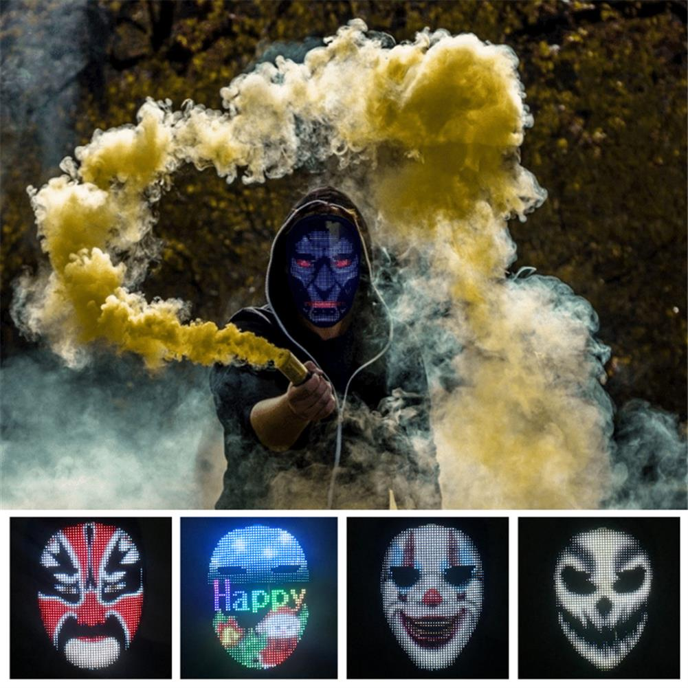 mask-costumes Full-color LED Face-changing Luminous Mask Bluetooth APP Control Shining Mask for Halloween Party Prom Bar Nightclub Atmosphere Mask HOB1763594