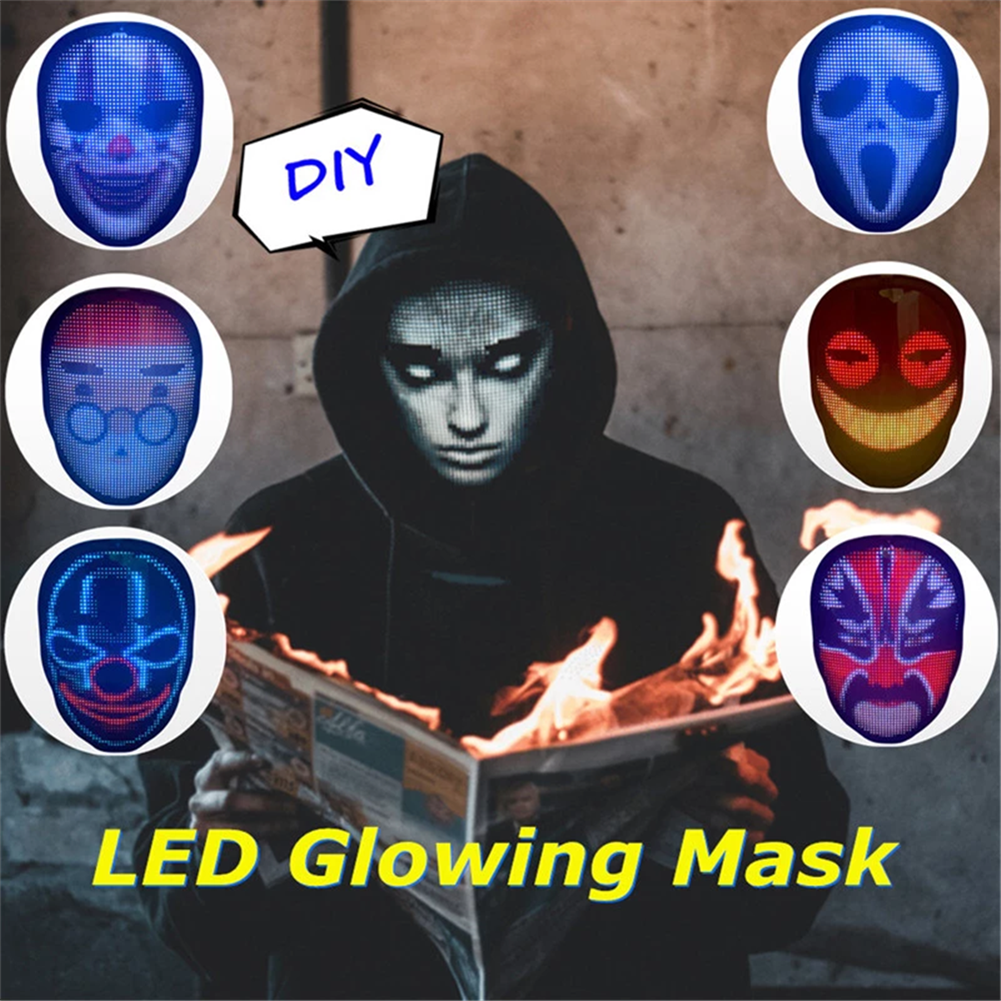 mask-costumes Full-color LED Face-changing Luminous Mask Bluetooth APP Control Shining Mask for Halloween Party Prom Bar Nightclub Atmosphere Mask HOB1763594 1