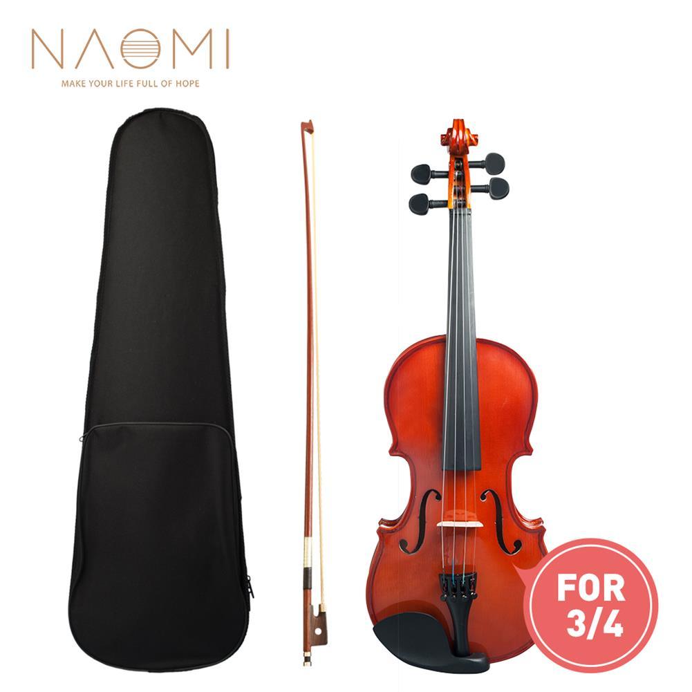 violin Naomi 3/4 Violin High Gloss/Matte Finishing Violin Student Violin W/Case+Bow for Biginner Violin Learner Natural Color Violin HOB1766275