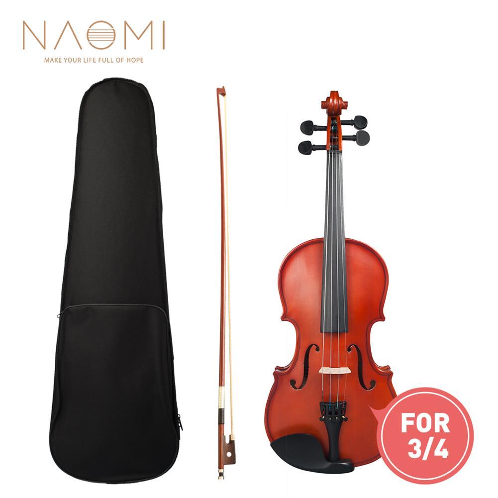 violin Naomi 3/4 Violin High Gloss/Matte Finishing Violin Student Violin W/Case+Bow for Biginner Violin Learner Natural Color Violin HOB1766275 1