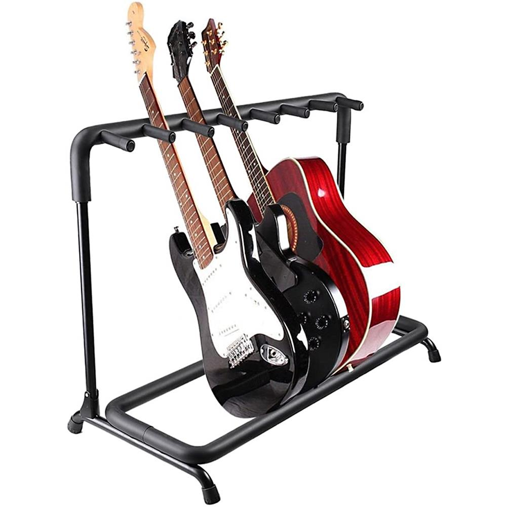 guitar-accessories Multi Guitar Stand 7 Holder Foldable Universal Display Rack - Portable Black Guitar Holder for Classical Acoustic, Electric, Bass Guitar and Guitar Bag/Case HOB1767240