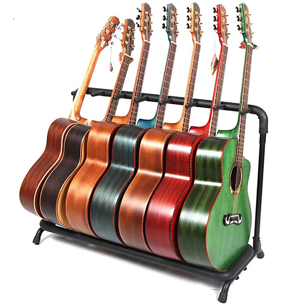 guitar-accessories Multi Guitar Stand 7 Holder Foldable Universal Display Rack - Portable Black Guitar Holder for Classical Acoustic, Electric, Bass Guitar and Guitar Bag/Case HOB1767240 1
