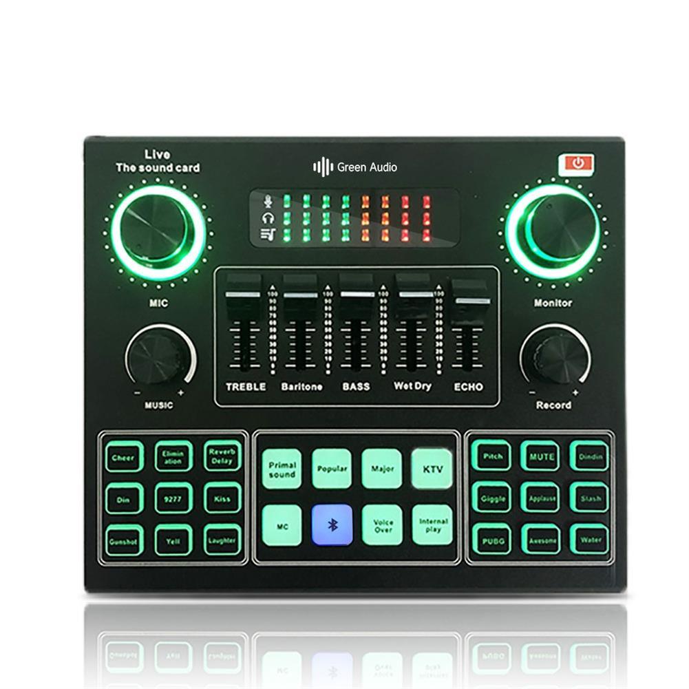 dj-mixers-equipment GAX-V9 Bluetooth Audio Mixer Sound Card USB External Computer PC Mobile Phone Live Audio Microphone Sound Card HOB1777558