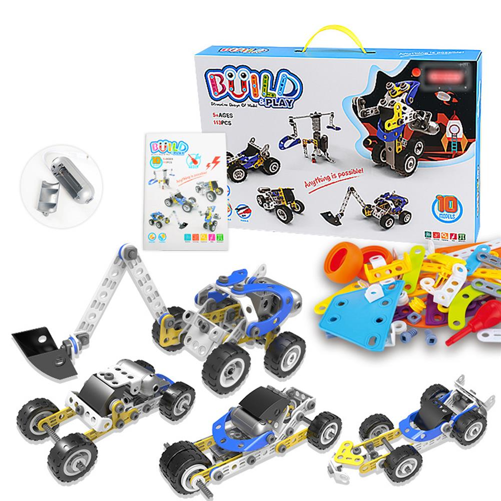 blocks-track-toys 113 Pcs 10 IN 1 DIY Handmade Assembly Electric Motor Soft Rubber Building Blocks Car Model Toy for Kids Gift HOB1779253