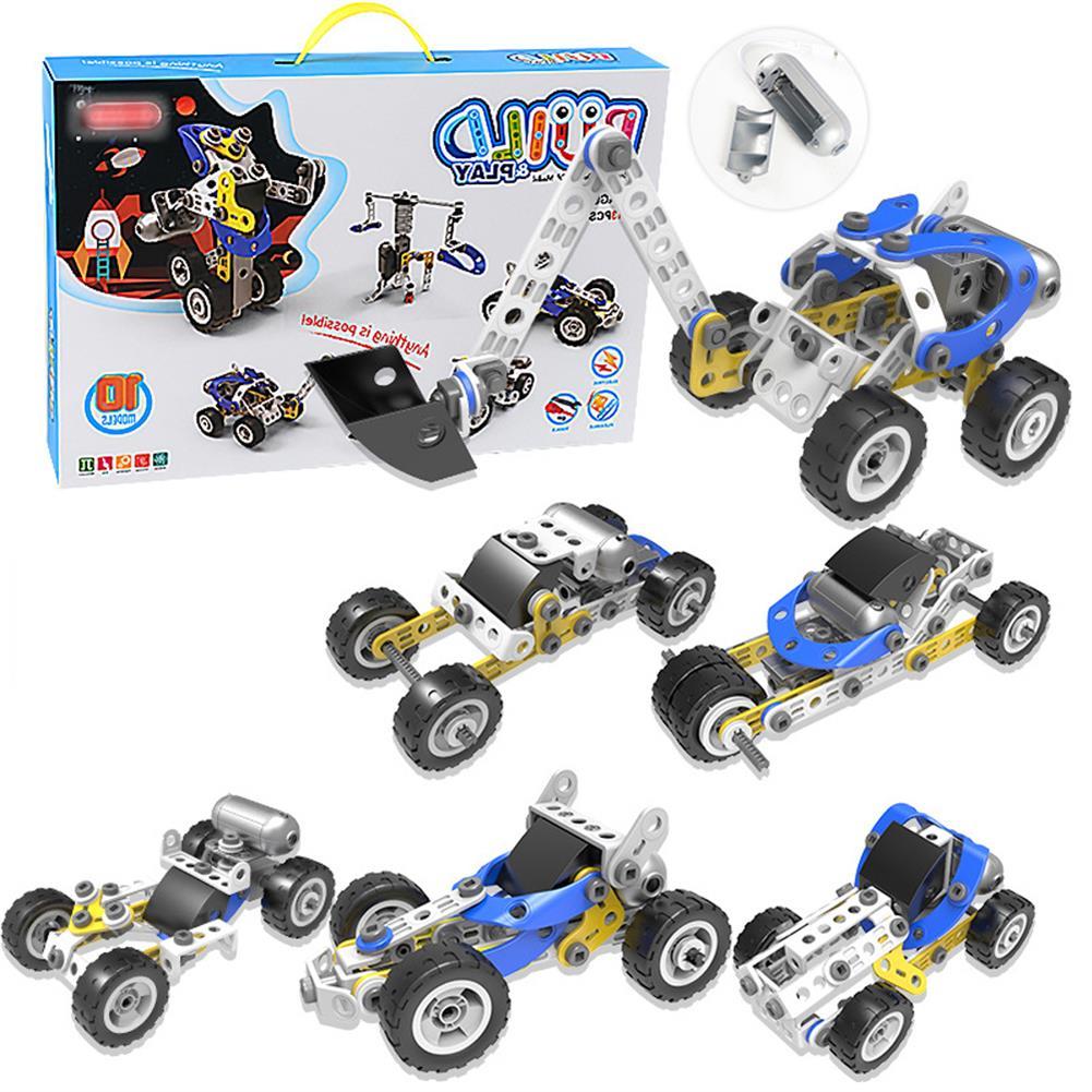 blocks-track-toys 113 Pcs 10 IN 1 DIY Handmade Assembly Electric Motor Soft Rubber Building Blocks Car Model Toy for Kids Gift HOB1779253 1