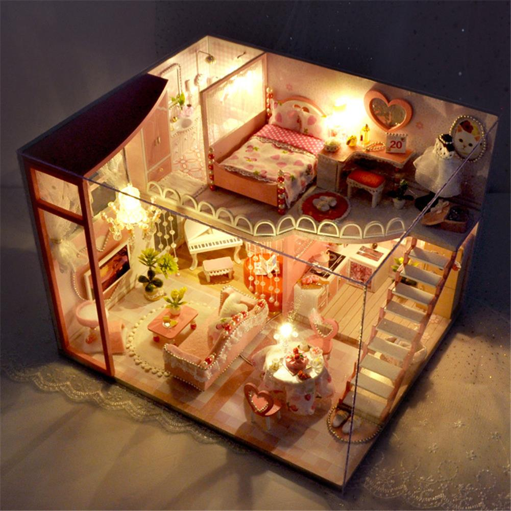 doll-house-miniature TIANYU TC40 Dream Loft Edition DIY Doll House Hand Assembled Model Creative Gift with Dust Cover HOB1782578