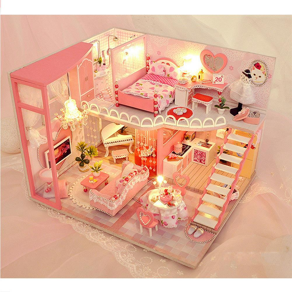 doll-house-miniature TIANYU TC40 Dream Loft Edition DIY Doll House Hand Assembled Model Creative Gift with Dust Cover HOB1782578 2