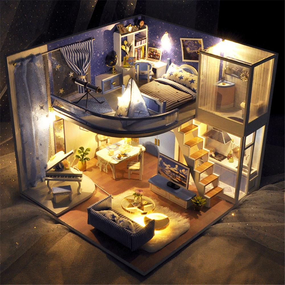 doll-house-miniature TIANYU Dream Starry Sky (Loft Edition) TD39 DIY Doll House Hand-Assembled Model Creative Creative Toy with Dust Cover HOB1783033