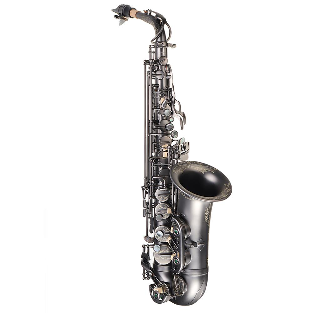 saxophone MY S0205 Matte Black Nickel Plated Alto E Flat Saxophone Body Carved White Shell Buckle HOB1783955 2