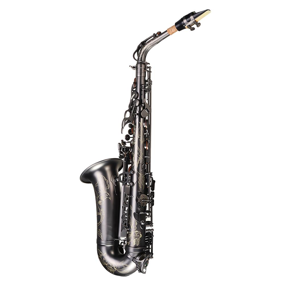 saxophone MY S0205 Matte Black Nickel Plated Alto E Flat Saxophone Body Carved White Shell Buckle HOB1783955 3