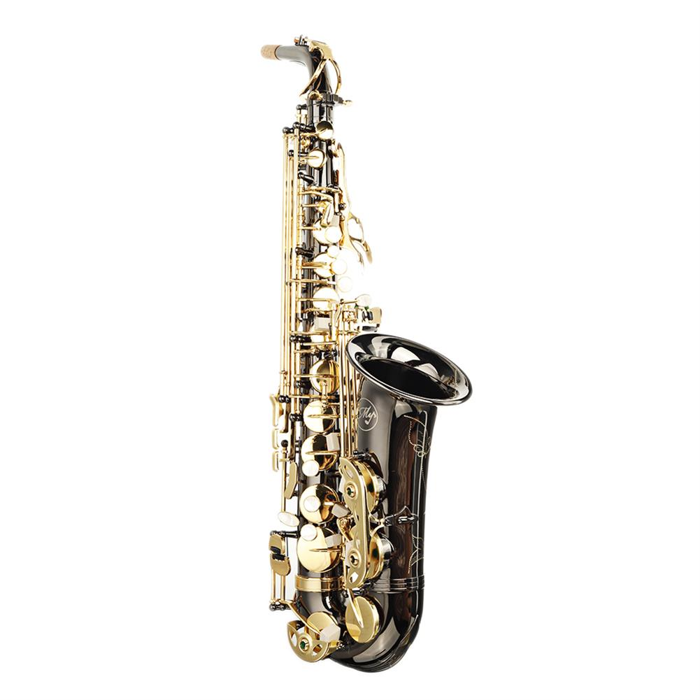 saxophone MY S0198 Black Nickel Plated Gold Key Alto E Flat Brass Alto Saxophone White Shell Clasp HOB1783985