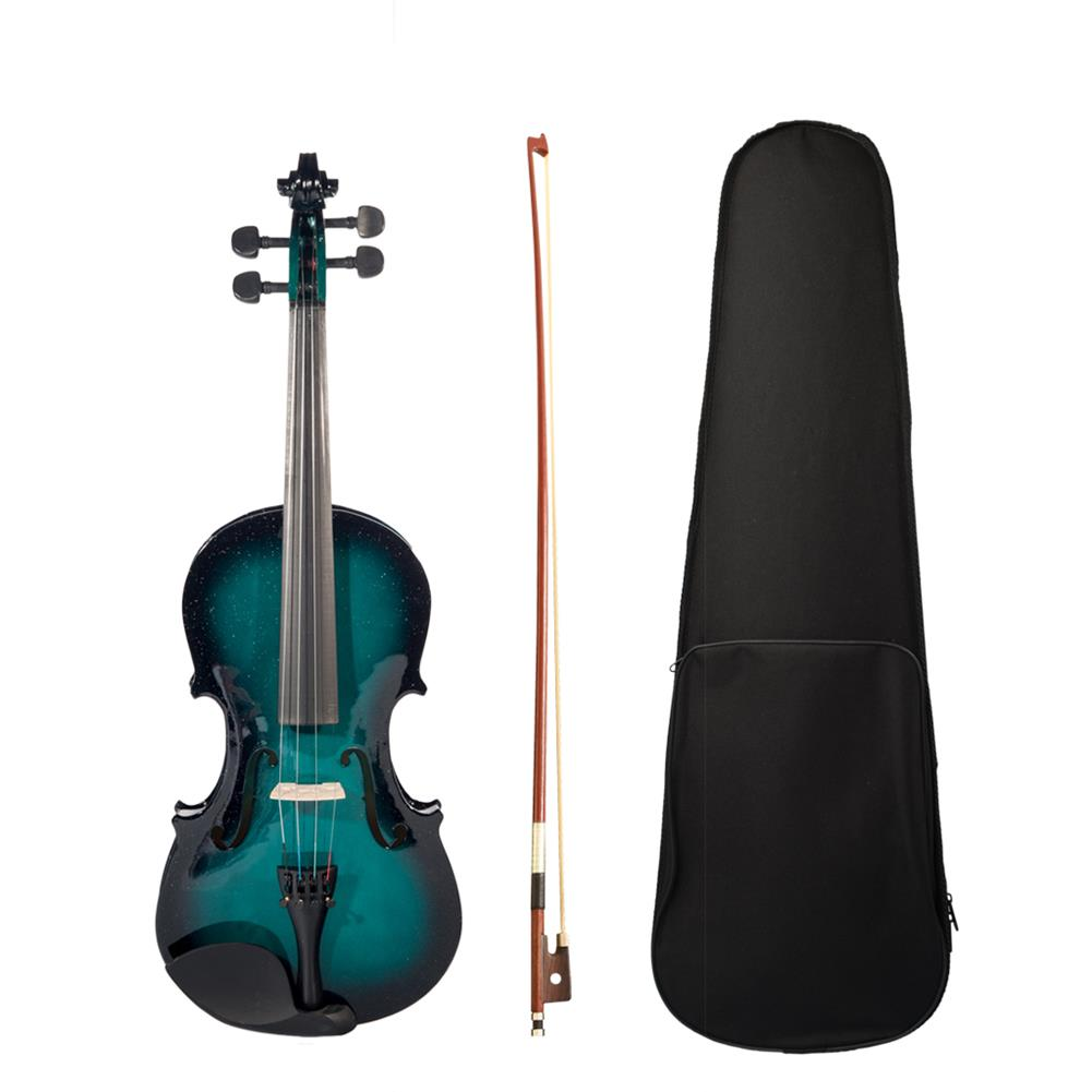violin NAOMI 1/8 blue Black Gradient Solid Wood Violin with Violin Bag HOB1784338