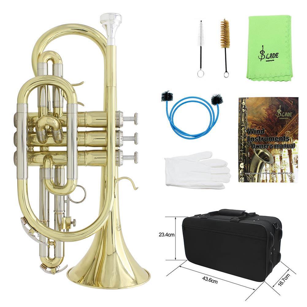cornet SLADE Golden Silver Key Standing Cornet Brass Tube Cupronickel Diaphonic Tube Monel Piston HOB1784383