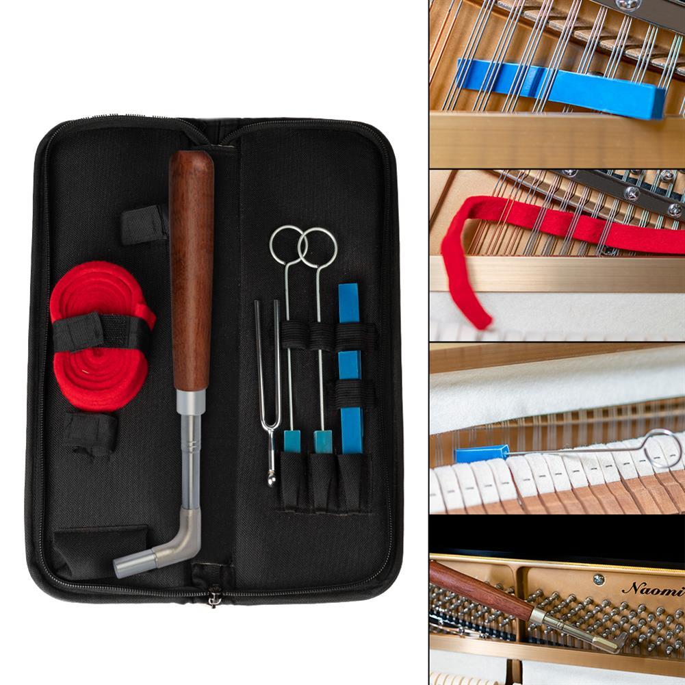 keyboard-accessories NAOMI Professional Piano Tuning Tool Kit Mahogany Handle Straight rod Octagonal Hammer Rubber Wedge Mute HOB1784664 2