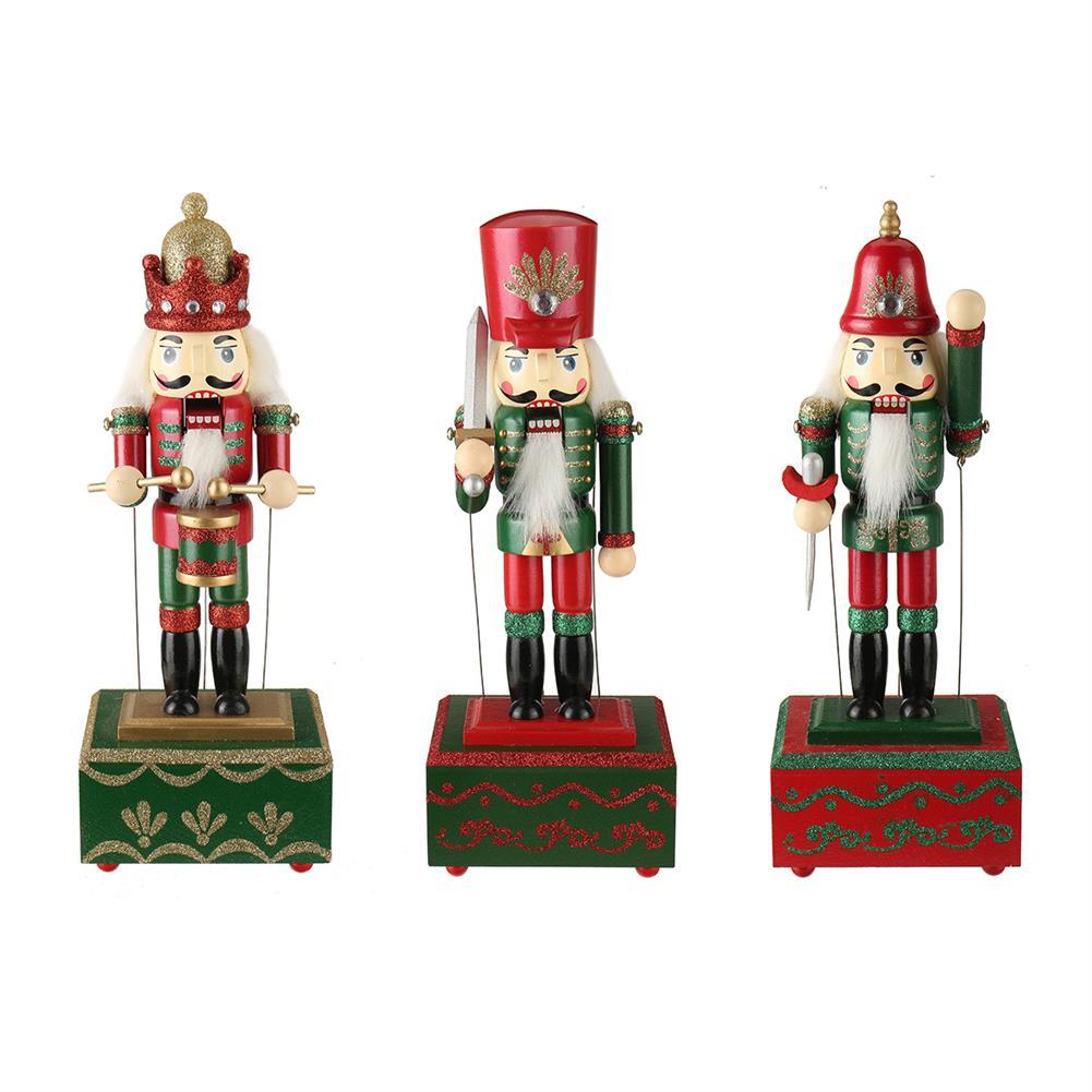 music-box Large Wooden Guard Nutcracker Soldier Toys Music Box Xmas Christmas Gift Decor HOB1785321