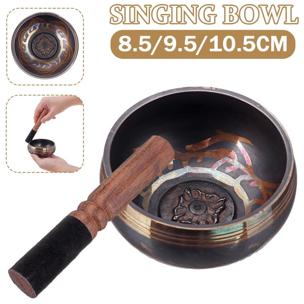 folk-world-percussion Traditional Meditation Singing Bowl Mat + Wooden Mallet Tibetan Buddhism Nepal HOB1785860
