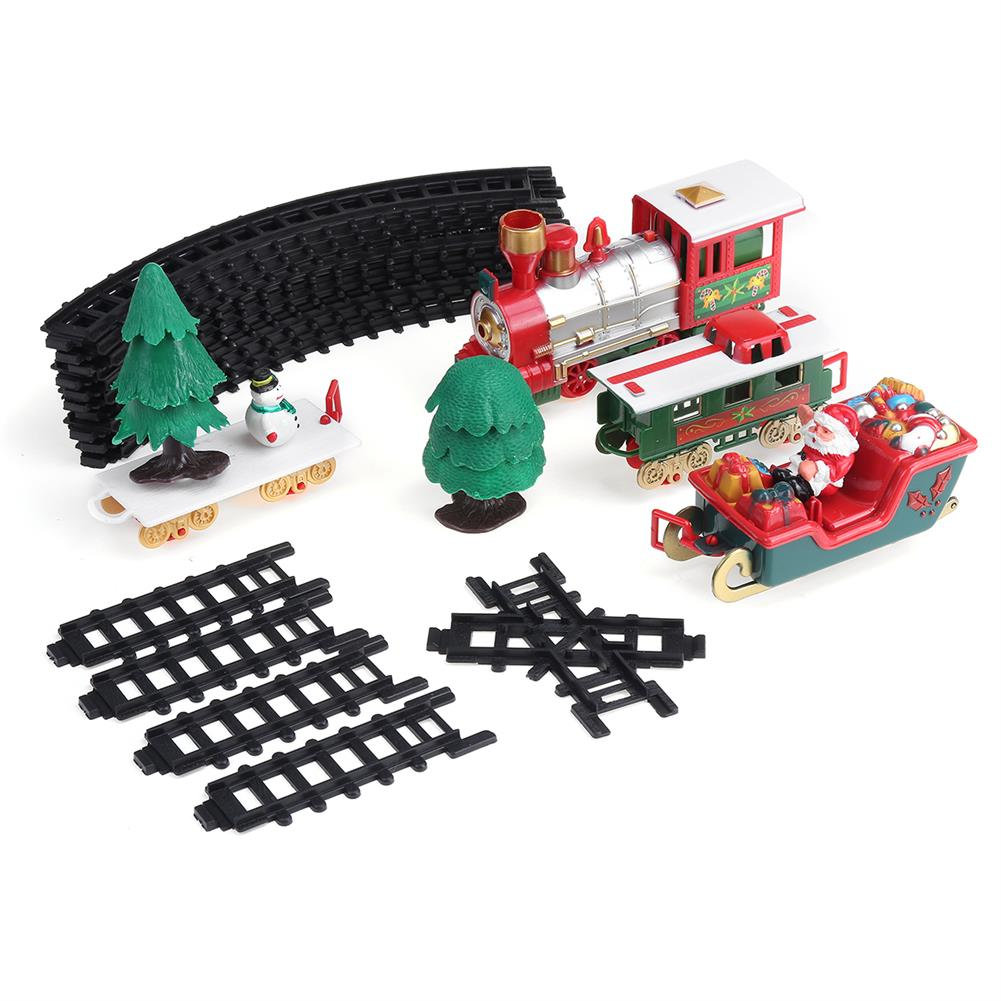 blocks-track-toys 22 Pcs Christmas Electric Train Track DIY Assembly Xmas Track Model Toy with Lights & Sounds for Kids Birthday Gift HOB1788621
