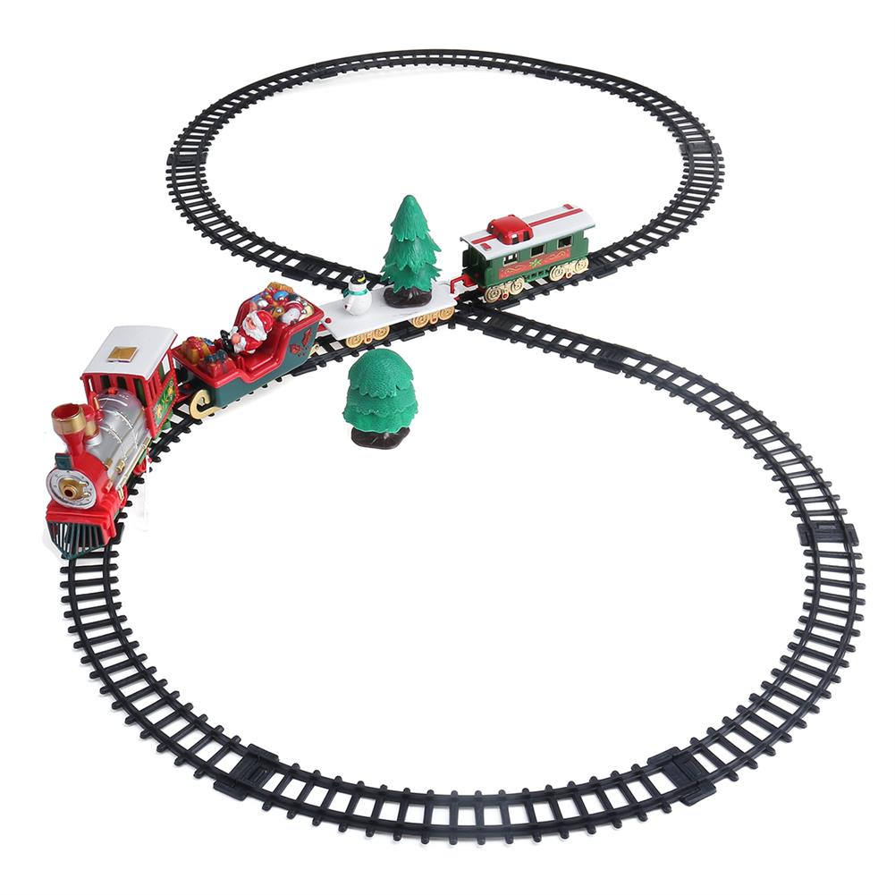 blocks-track-toys 22 Pcs Christmas Electric Train Track DIY Assembly Xmas Track Model Toy with Lights & Sounds for Kids Birthday Gift HOB1788621 1
