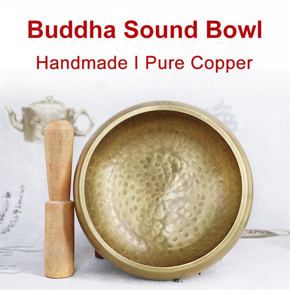 folk-world-percussion Handmade Copper Buddhas Sound Bowl Yoga Meditation Bowl+Wooden Stick+Circle Pad HOB1791169