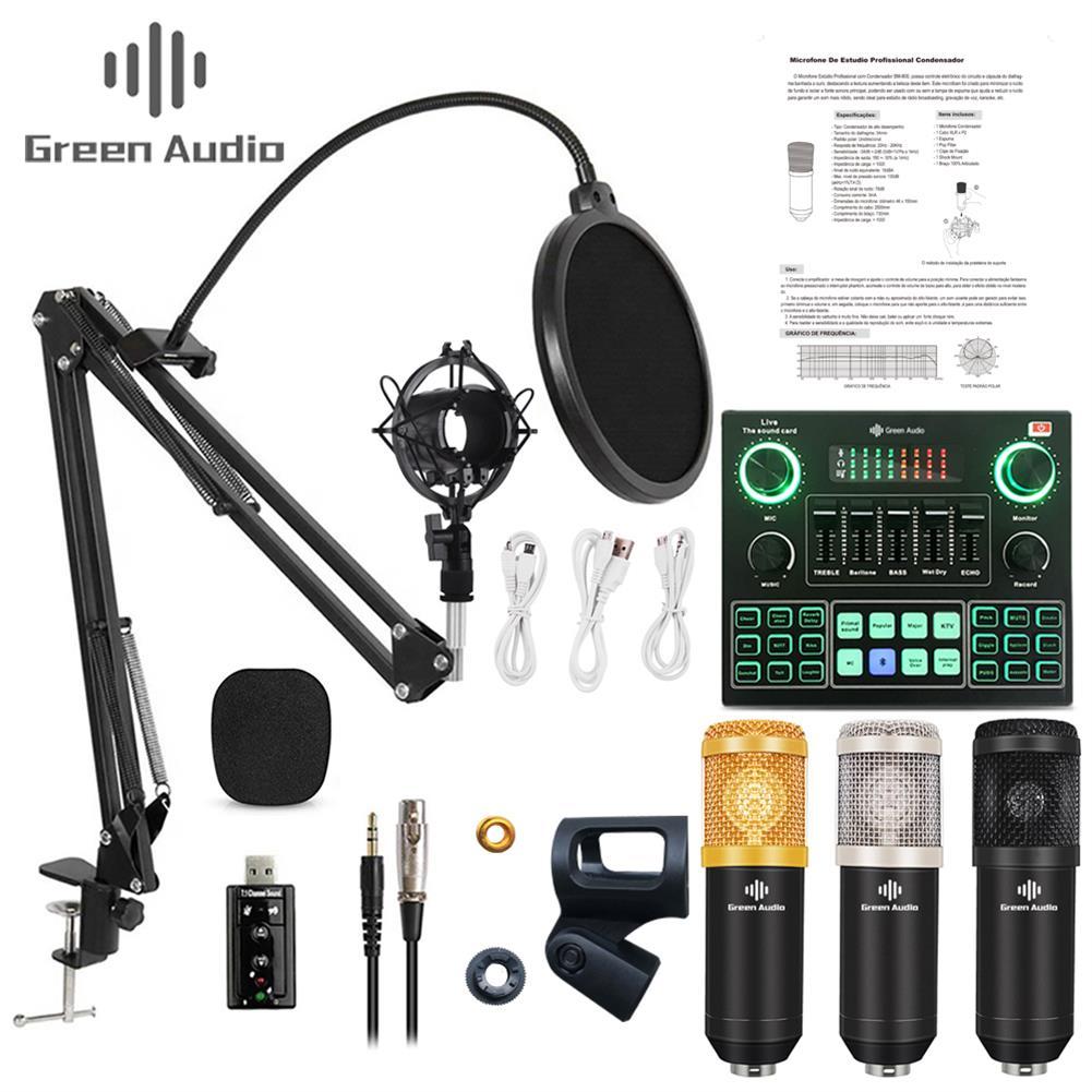 microphones-karaoke-equipment GAM-800 Green Audio Condenser Microphone Kit for Karaoke with GAX-V9 Bluetooth Audio Mixer Sound Card HOB1791217