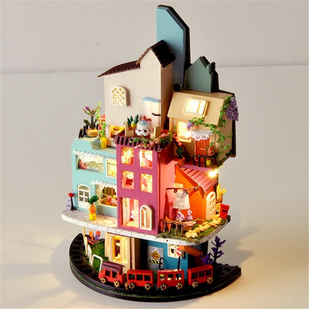 doll-house-miniature TIANYU TC2 Cloud Town DIY House Cloud House Candy Color Town Art House Creative Gift with Dust Cover HOB1792730 2