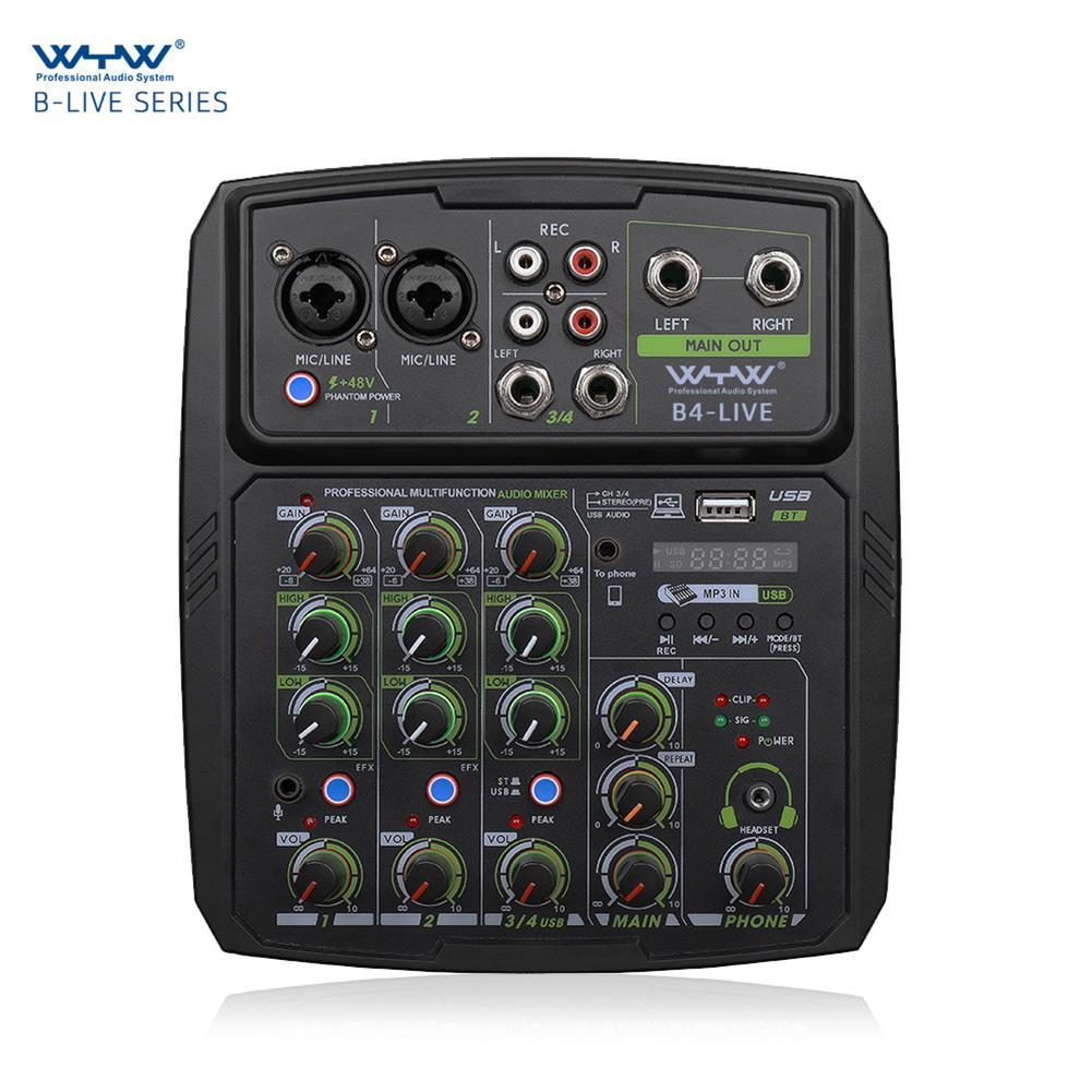 dj-mixers-equipment WENYANWEN B4 LIVE Phone Live Broadcast Sound Card Home Music Production 4 Channels Mini Audio Mixer HOB1794148