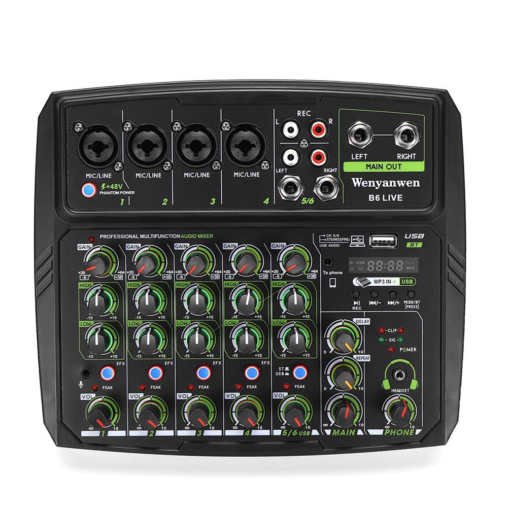 dj-mixers-equipment WENYANWEN B6 LIVE Phone Live Broadcast Sound Card Home Music Production 6 Channels Mini Audio Mixer HOB1794160