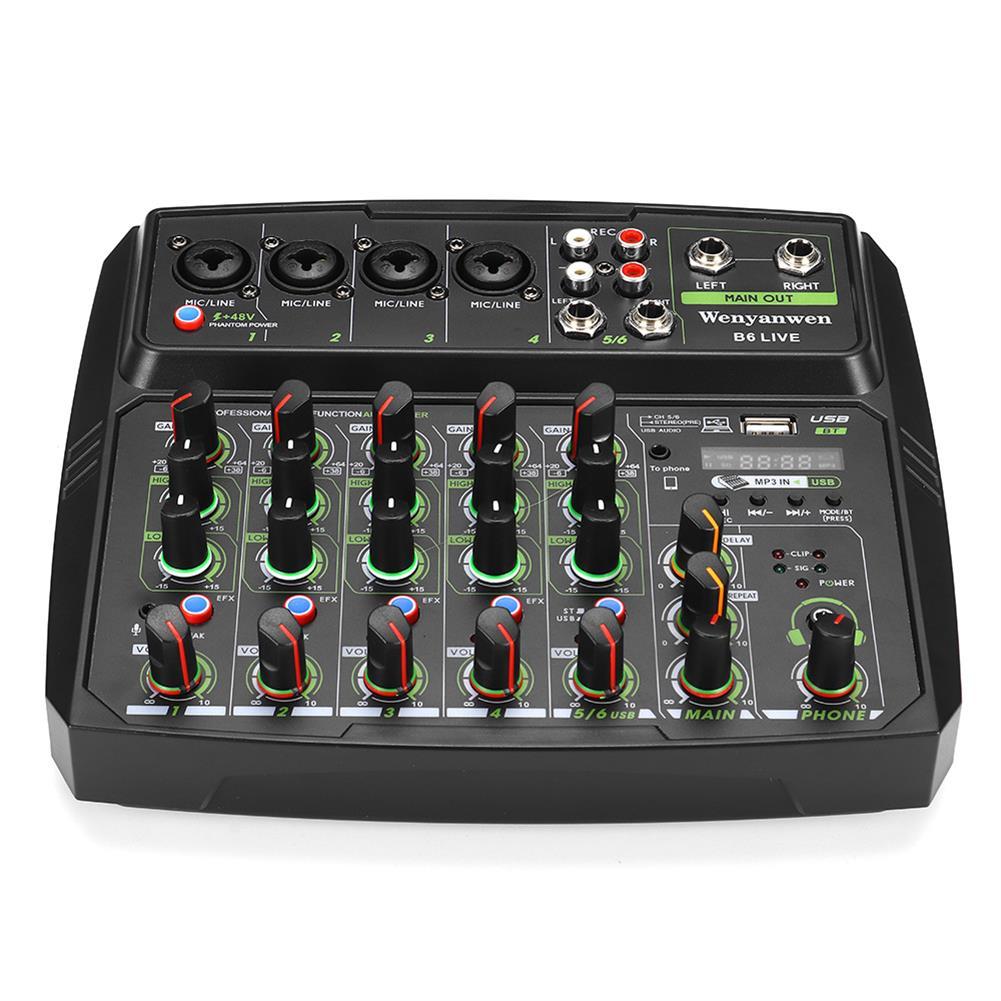 dj-mixers-equipment WENYANWEN B6 LIVE Phone Live Broadcast Sound Card Home Music Production 6 Channels Mini Audio Mixer HOB1794160 1