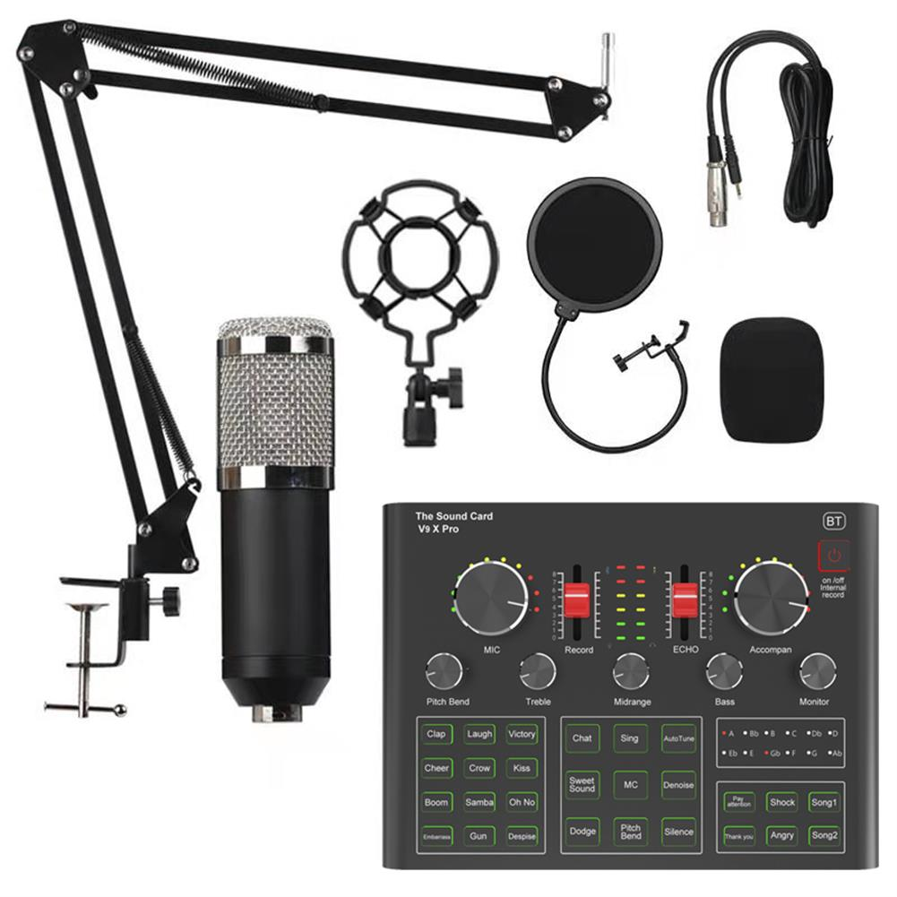 microphones-karaoke-equipment BM800 Condenser Microphone Sound Card V9X PRO Mixer Live Broadcast Recording Set Mic Phone K Song Computer Karaoke Sing HOB1794836 2