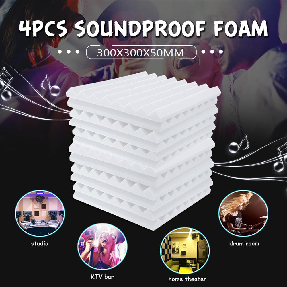 general-accessories 4PCs Acoustic Panels Tiles Studio Sound Proofing insulation Closed Cell Foam HOB1798038
