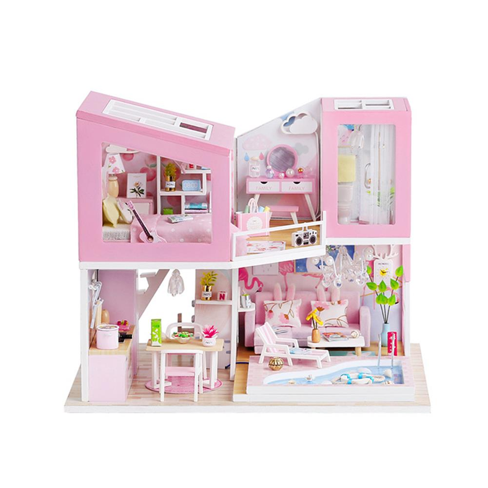 doll-house-miniature 1:24 DIY Handmake Assembly Doll House Miniature Furniture Kit with LED Light Toy for Kids Birthday Gift Home Decoration HOB1799443
