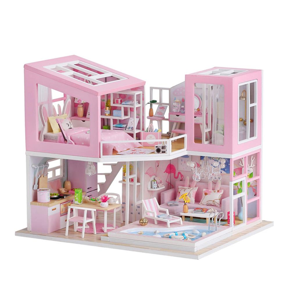 doll-house-miniature 1:24 DIY Handmake Assembly Doll House Miniature Furniture Kit with LED Light Toy for Kids Birthday Gift Home Decoration HOB1799443 1